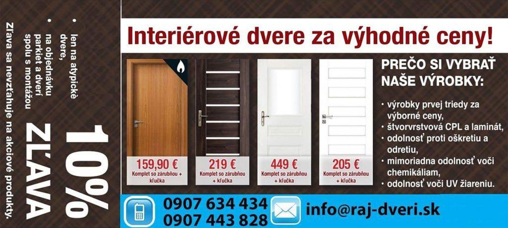Interiérové dvere za výhodné ceny!