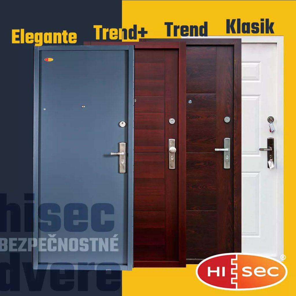 Bezpečnostné dvere HISEC Elegante, Trend, Trend+, Klasik